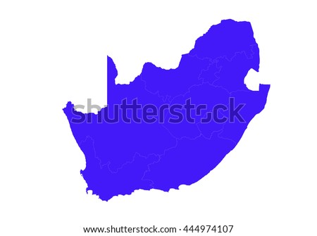 Vector map-south Africa country on white background. blue color. - stock vector