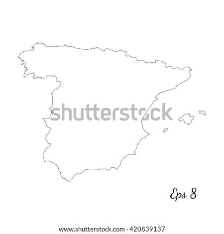 Vector map Spain. Outline map. Isolated vector Illustration. Black on White background. EPS 8 Illustration. - stock vector