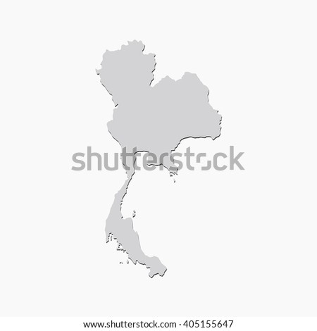 Vector map Thailand. Gray Isolated vector Illustration. On Grey background. With shadow. EPS 10 Illustration. - stock vector