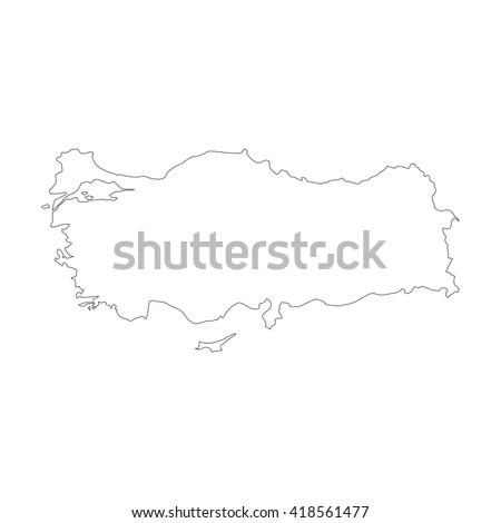 Vector map Turkey. Outline map. Isolated vector Illustration. Black on White background. EPS 8 Illustration. - stock vector
