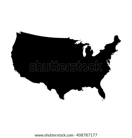 Vector map United States. Isolated vector Illustration. Black on White background. EPS 8 Illustration. - stock vector