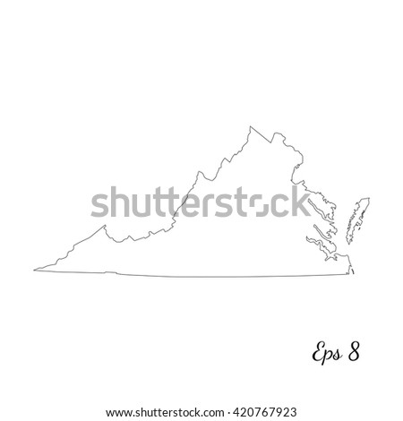 Vector map Virginia. Outline map. Isolated vector Illustration. Black on White background. EPS 8 Illustration. - stock vector