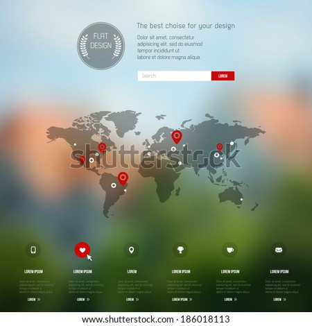 Vector map, web and mobile template. Corporate website design. Blurred background. Web media backdrop. Infographics with data icons. - stock vector