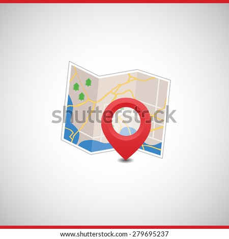 Vector map with markers and symbols. Icon and index. The road and the orientation - stock vector