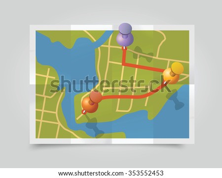 Vector map with pin pointers on folded paper. - stock vector