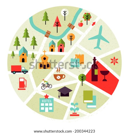 Vector map with places icons. Trees, houses and roads - stock vector