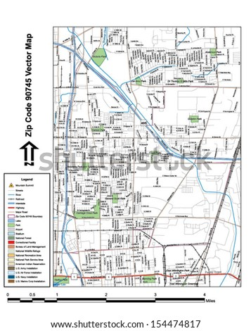Vector map with summits, rivers, railroads, streets, lakes, parks, airports, stadiums, correctional facilities, military installations and federal lands by zip code 90745 with labels and clean layers. - stock vector
