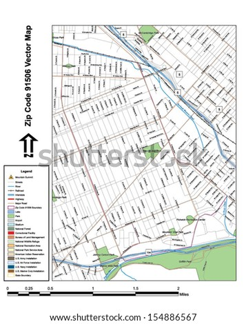 Vector map with summits, rivers, railroads, streets, lakes, parks, airports, stadiums, correctional facilities, military installations and federal lands by zip code 91506 with labels and clean layers. - stock vector