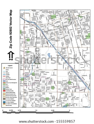Vector map with summits, rivers, railroads, streets, lakes, parks, airports, stadiums, correctional facilities, military installations and federal lands by zip code 92802 with labels and clean layers. - stock vector
