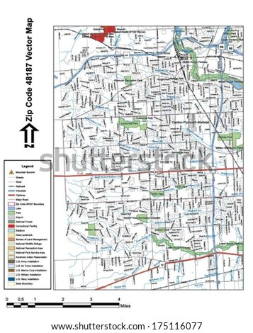 Vector map with summits, rivers, railroads, streets, lakes, parks, airports, stadiums, correctional facilities, military installations and federal lands by zip code 48187 with labels and clean layers. - stock vector