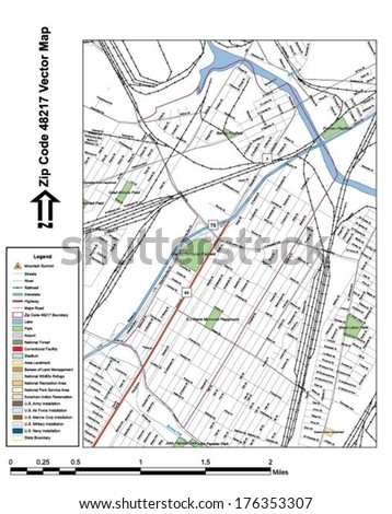 Vector map with summits, rivers, railroads, streets, lakes, parks, airports, stadiums, correctional facilities, military installations and federal lands by zip code 48217 with labels and clean layers. - stock vector