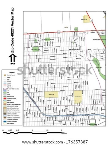 Vector map with summits, rivers, railroads, streets, lakes, parks, airports, stadiums, correctional facilities, military installations and federal lands by zip code 48221 with labels and clean layers. - stock vector