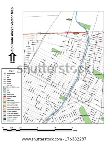 Vector map with summits, rivers, railroads, streets, lakes, parks, airports, stadiums, correctional facilities, military installations and federal lands by zip code 48225 with labels and clean layers. - stock vector