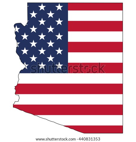 Vector map with US flag inside of Arizona - stock vector