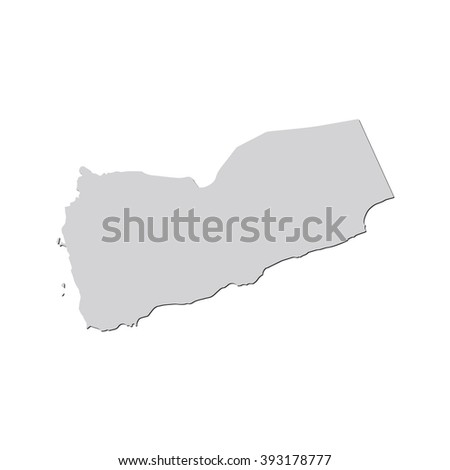 Vector map Yemen. Isolated vector Illustration. Gray on White background. With shadow. EPS 10 Illustration. - stock vector