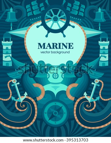 Vector marine background with anchor, wheel, diver, lighthouse, ship, compass.