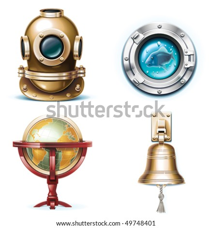Vector marine travel icons. Part 1 - stock vector