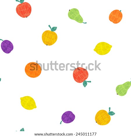 Vector marker drawn fruit seamless pattern with apple, orange, lemon, plum, pear and apricot on white background - stock vector