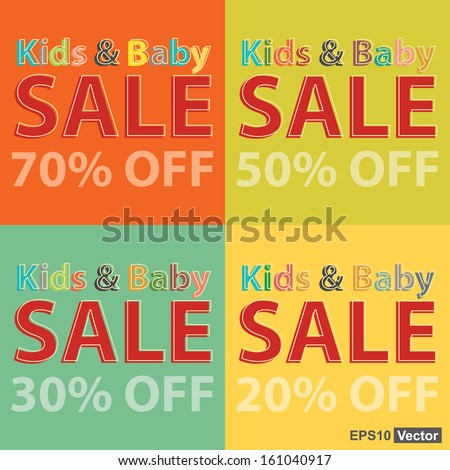 By colorful kids and baby sale 20 70 percent off stock vector