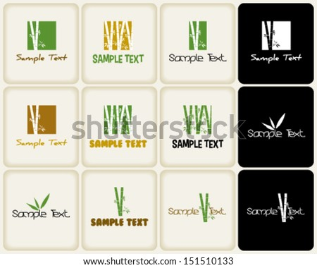 Vector marks ans symbols related to nature and bamboo - stock vector