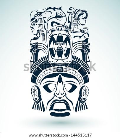 Vector mask, mexican Mayan - aztec motifs - symbol - stock vector