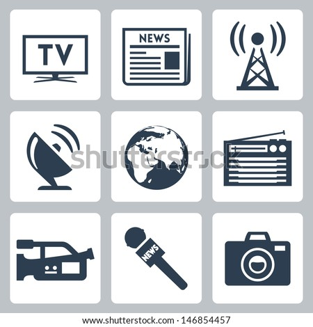 Vector mass media icons set - stock vector