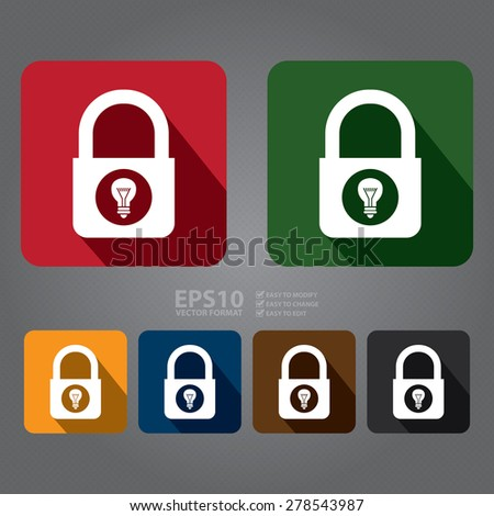 Vector : Master Key Lock With Light Bulb Flat Long Shadow Style Icon, Label, Sticker, Sign or Banner - stock vector