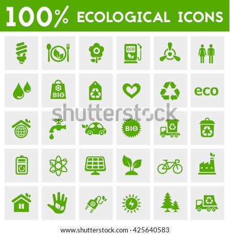 Vector material design green ecological icons collection - stock vector