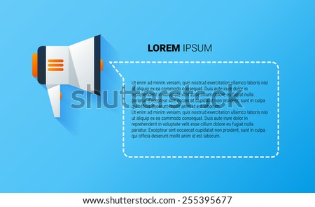 Vector material icon of bullhorn with place for text - stock vector