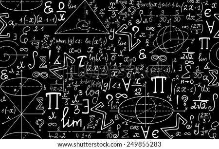 Vector mathematical seamless texture with various mathematical signs, figures and calculations - stock vector
