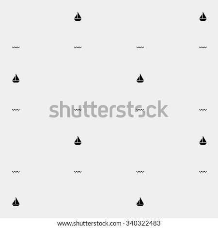Vector matine pattern. Ship - stock vector - stock vector