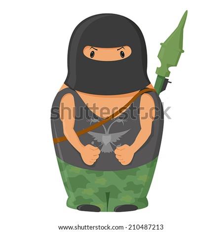 Vector  matrioshka terrorist with RPG - stock vector