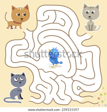 Vector maze game: funny blue bird find the way from the cats trap - stock vector