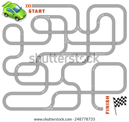 Vector maze game: funny green racing car find the way to finish - stock vector
