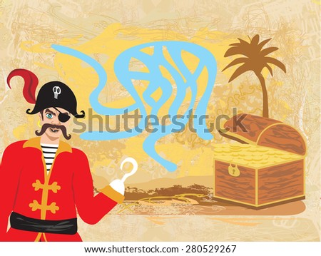Vector Maze game: pirate looking for gold - stock vector