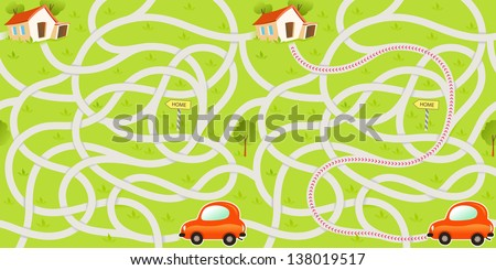 Vector Maze Game with Funny Red Car Find the Way to Home - stock vector