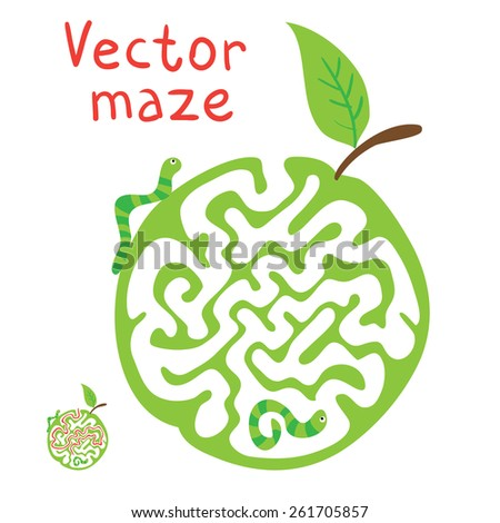 Vector Maze, Labyrinth education Game for Children with ?aterpillar and Apple. - stock vector