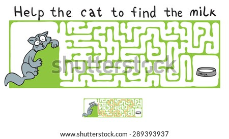 Vector Maze, Labyrinth education Game for Children with Cat. - stock vector