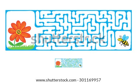 Vector Maze, Labyrinth education Game for Children with Flying Bee and flower. - stock vector