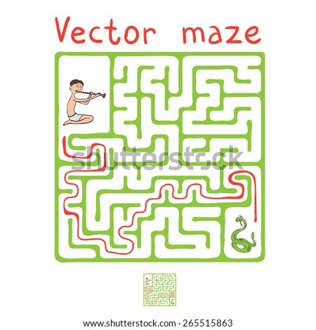 Vector Maze, Labyrinth education Game for Children with Snake and Fakir  - stock vector