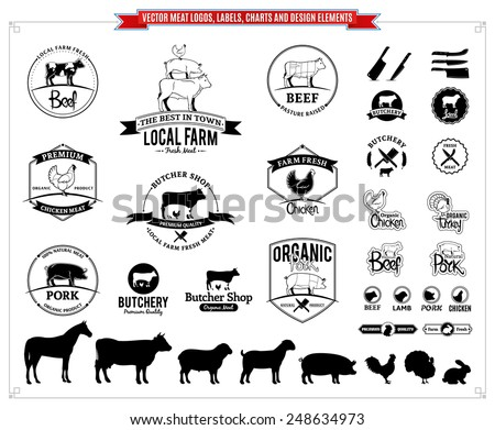 Vector meat logos, labels, charts and design elements - stock vector