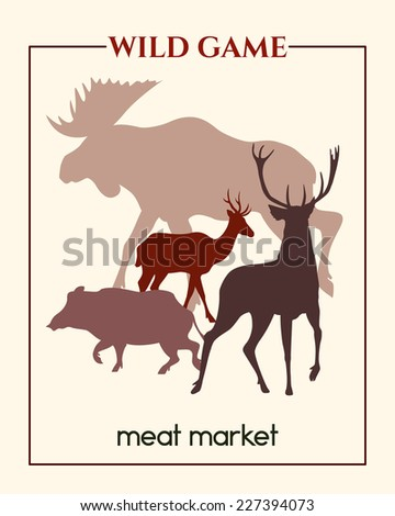 Vector meat market banner with big game silhouettes made in retro style. - stock vector