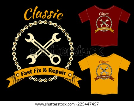 Vector Mechanic Fast Fix and Repair T-Shirt Template Design  Isolated on Black Background. - stock vector