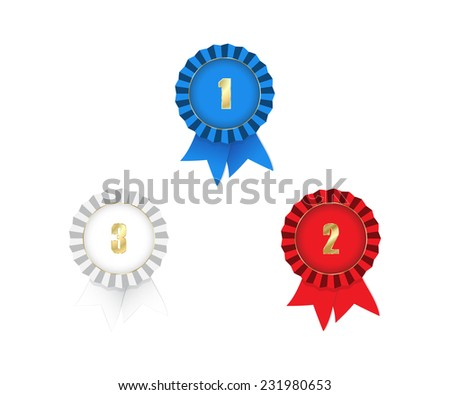 vector medals with ribbons 1st 2nd 3rd place red white and blue on a white background - stock vector