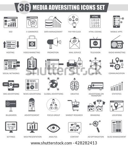 Vector Media adversiting black icon set. Dark grey classic icon design for web. Media adversiting icons set, Media adversiting icons collection, adversiting black icons, adversiting sales icons - stock vector