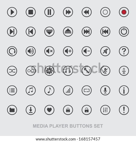 Vector media player icons set. Multimedia. Isolated. - stock vector
