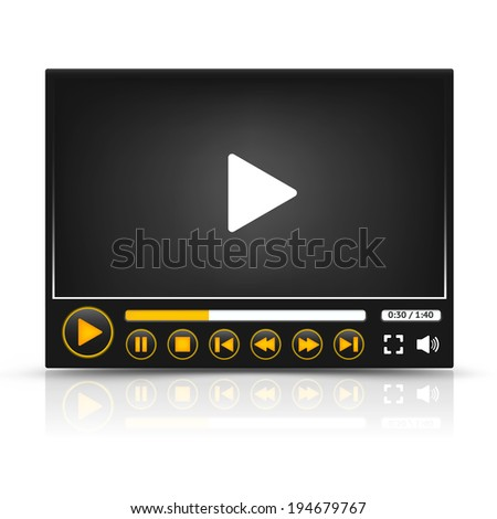 Vector media player interface with orange colored buttons - stock vector
