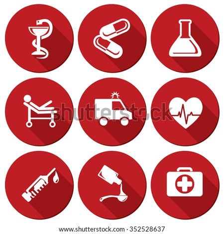 Vector medic and healthcare icons set. - stock vector
