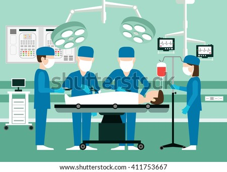 Vector medical concept Surgeons in operation theater. Room with people, scalpel and screen disease and pulse patient, assistant doctor illustration. Team doctors in the operating room with the patient - stock vector
