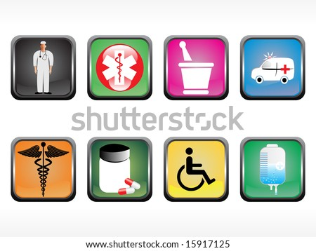 vector medical icon series web 2.0 style set - stock vector